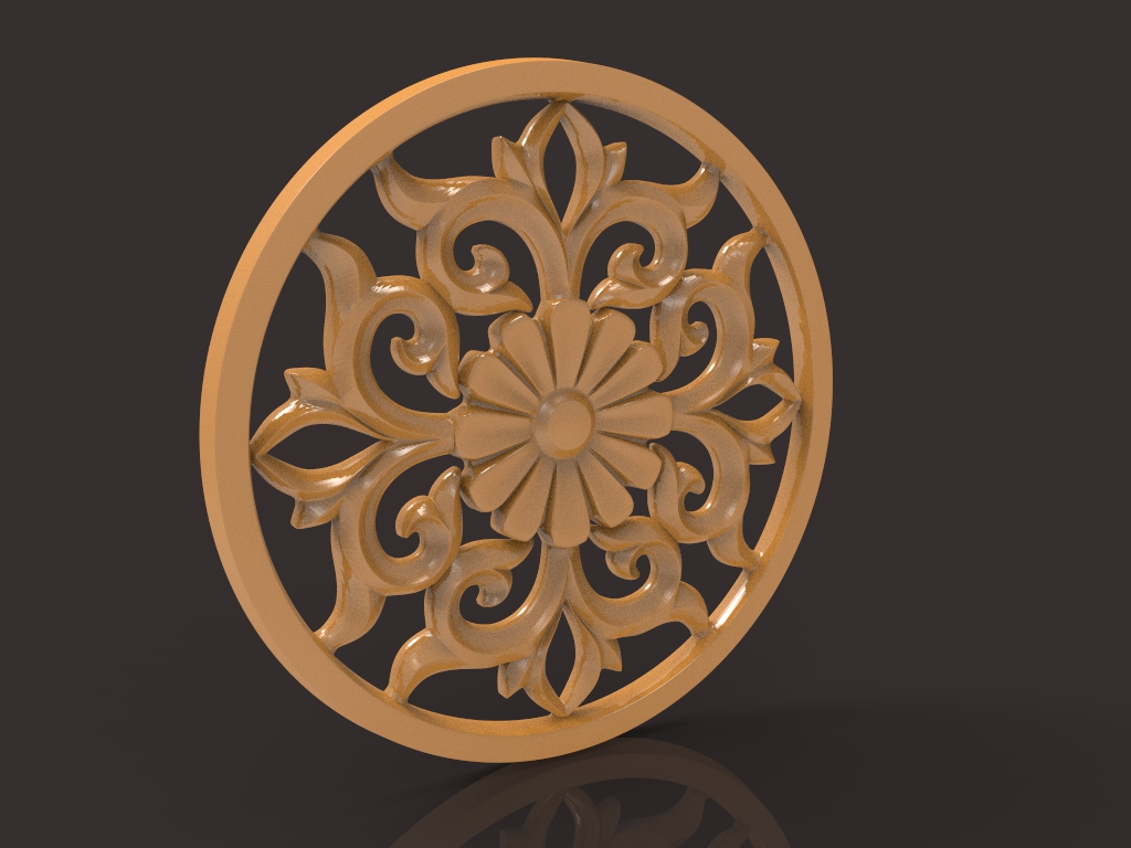 Carved Decor Central 3D Model For CNC Router Stl File