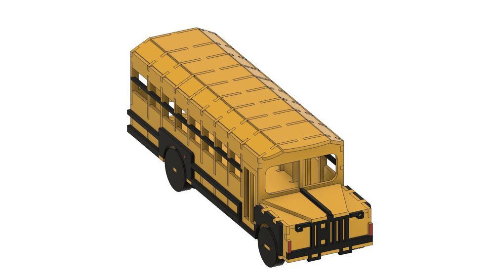 Laser Cut School Bus Template Free Vector