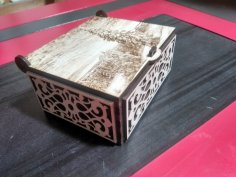 Laser Cut Engraved Decorative Box with Lid Free Vector