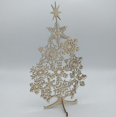 Laser Cut Snowflake Christmas Tree DXF File