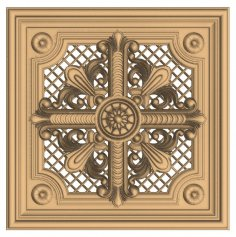 Decorative Wood Carving Design for CNC Router Stl File