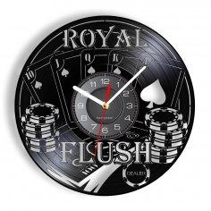 Laser Cut Royal Flush Poker Wall Clock Card Games Vinyl Record Wall Decor Free Vector