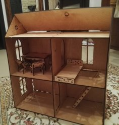 Laser Cut Wooden Doll House Kit Free Vector