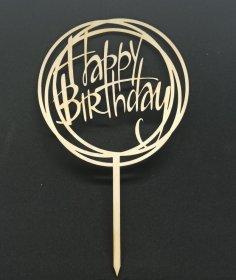 Laser Cut Decor Happy Birthday Cake Topper Free Vector