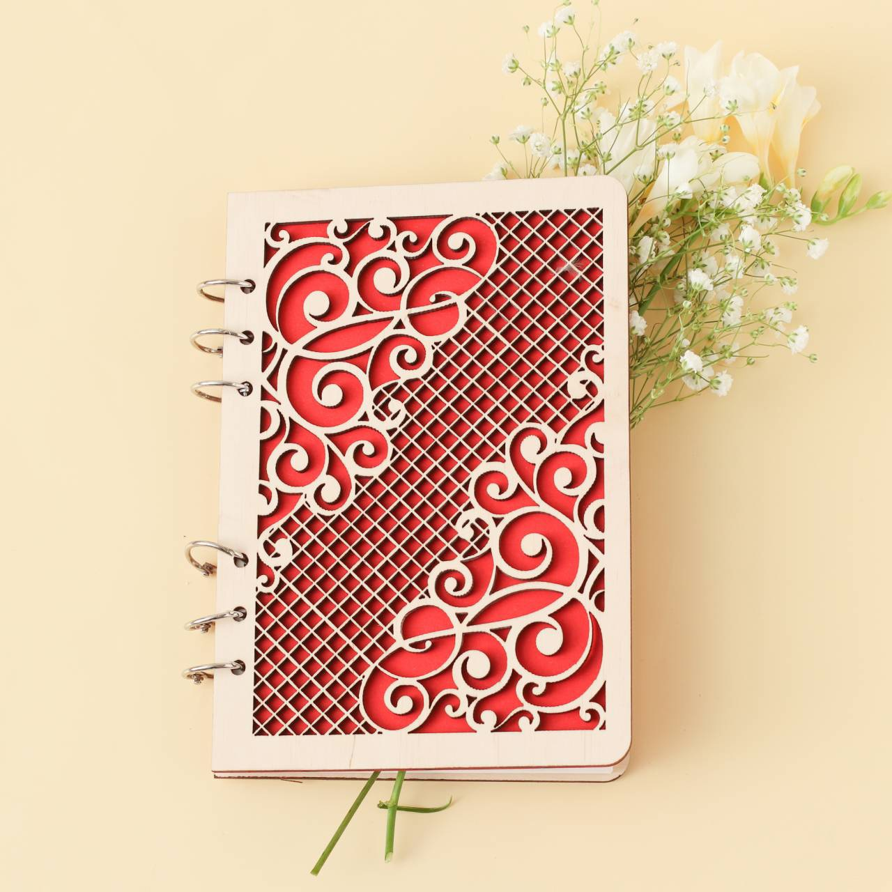 Laser Cut Decorative Notebook Cover Free Vector