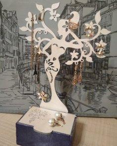 Laser Cut Jewelry Organizer Wooden Jewelry Storage Box With Jewelry Tree Stand Free Vector