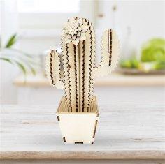 Laser Cut Cactus 3D Wooden Puzzle Free Vector