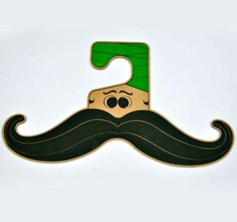 Laser Cut Moustache Clothing Hanger Free Vector