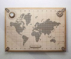 Laser Cut World Map Wall Decor Free Vector