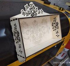 Laser Cut Decorative Kitchen Spice Rack 6mm 350x340x80mm Free Vector