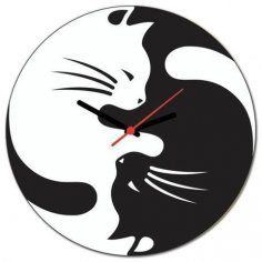 Laser Cut Yin Yang Cats Wall Clock Free Vector