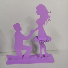 Laser Cut Marriage Proposal Couple Napkin Holder Free Vector