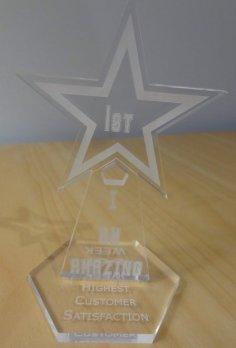 Laser Cut Star Acrylic Award Trophy DXF File