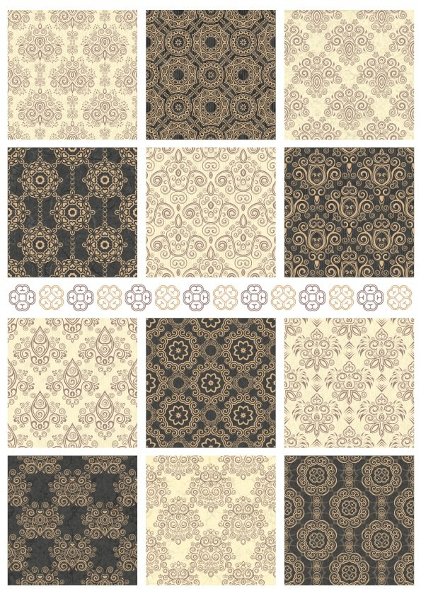 Decorative Damask Seamless Patterns Free Vector