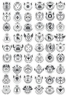 Heraldic Element Collection Free Vector