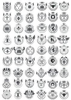 Heraldic Element Collection Free Vector