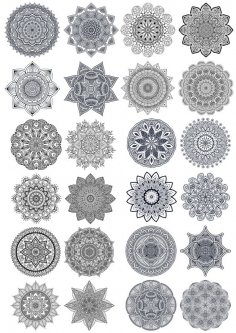 Set Of Ornament Round Mandalas Free Vector