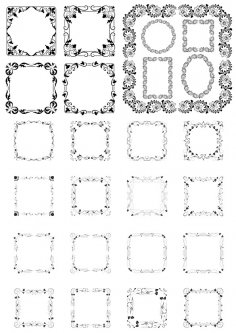 Floral Border Frame Set Free Vector