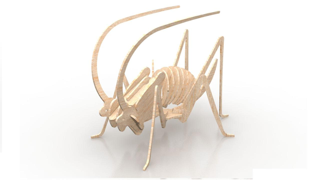 Grasshopper 1.5mm Insect 3D Wood Puzzle DXF File