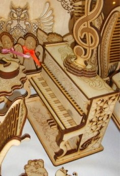 Laser Cut Wooden Toy Piano Free Vector