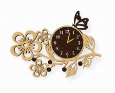 Laser Cut Flower Wall Clock Free Vector