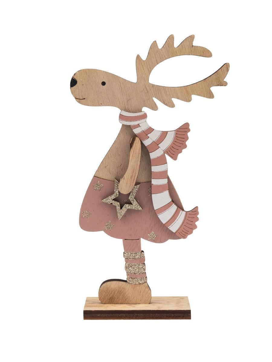Laser Cut Christmas Standing Deer Decoration Free Vector