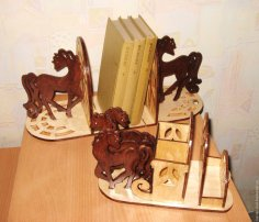 Laser Cut Horse Bookend Organizer Free Vector