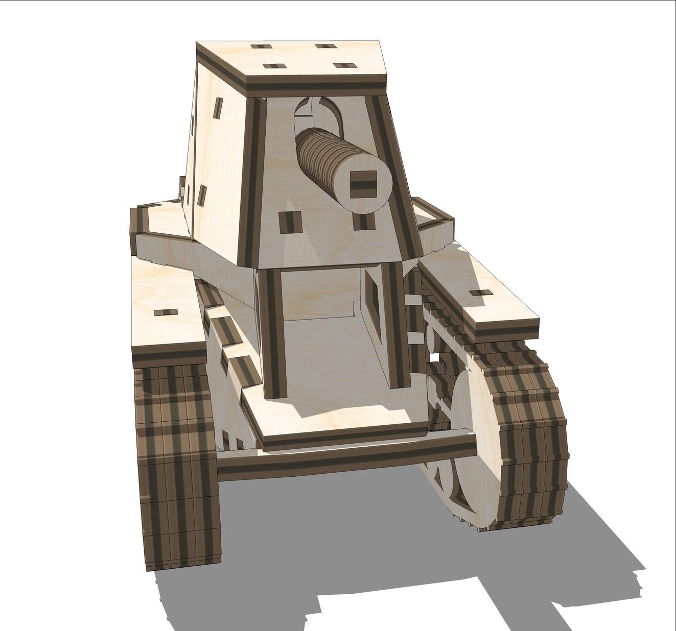 Laser Cut Tank SU-18 Wooden 3D Puzzle Free Vector