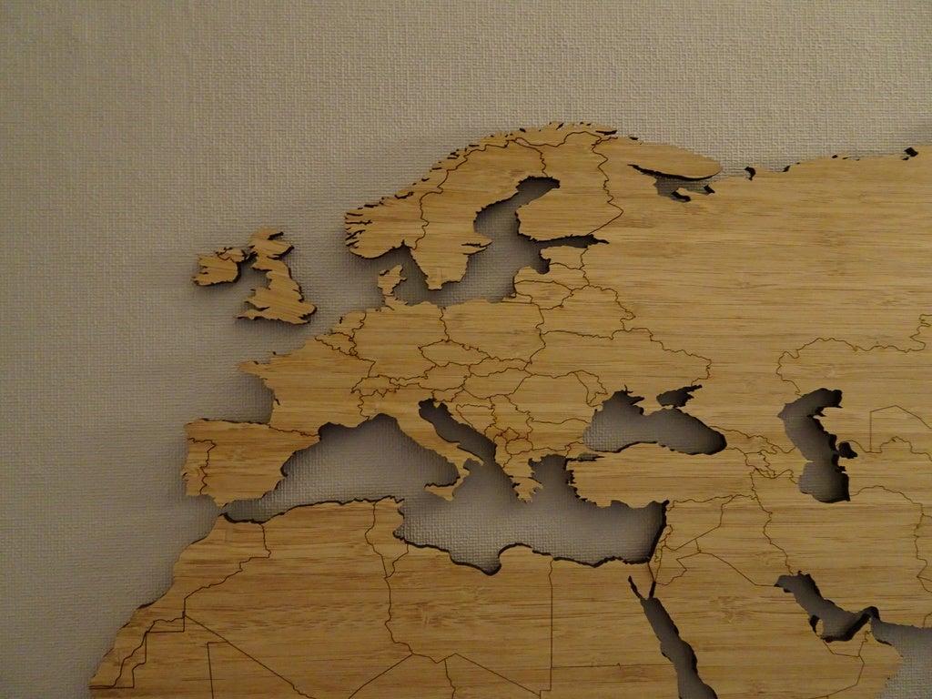 Laser Cut World Map Bamboo Nested 1200x600mm PDF File