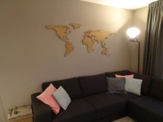 Laser Cut World Map Bamboo Nested 1200x600mm PDF File