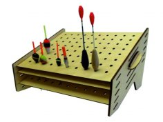 Laser Cut Fishing Pole Float Stand 25×35 Free Vector