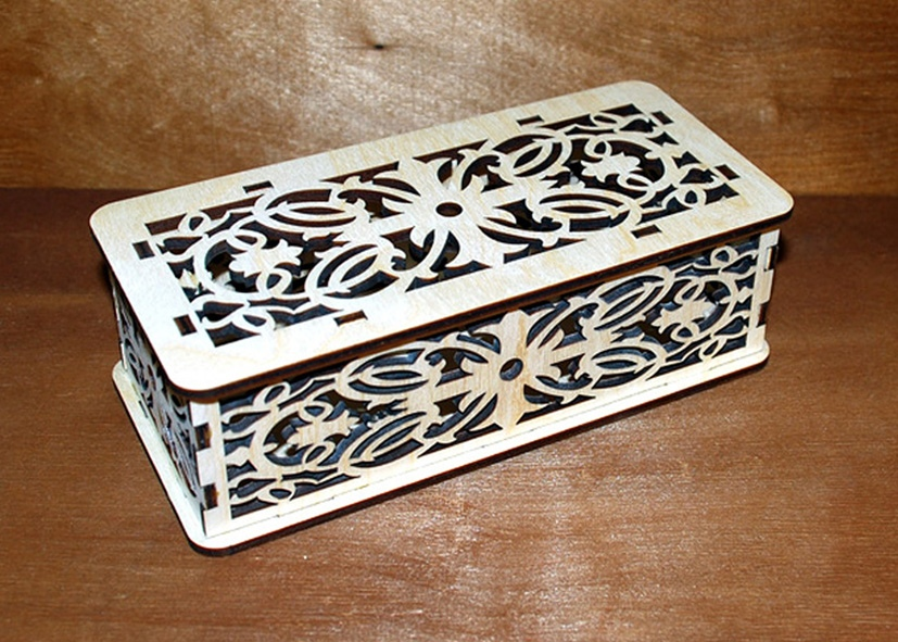 Laser Cut Patterned Wooden Box With Lid Free Vector