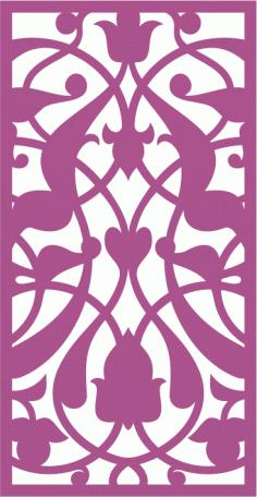 Design of laser cut floral screen CDR File