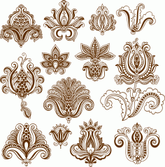 Vector mehndi designs Free Vector