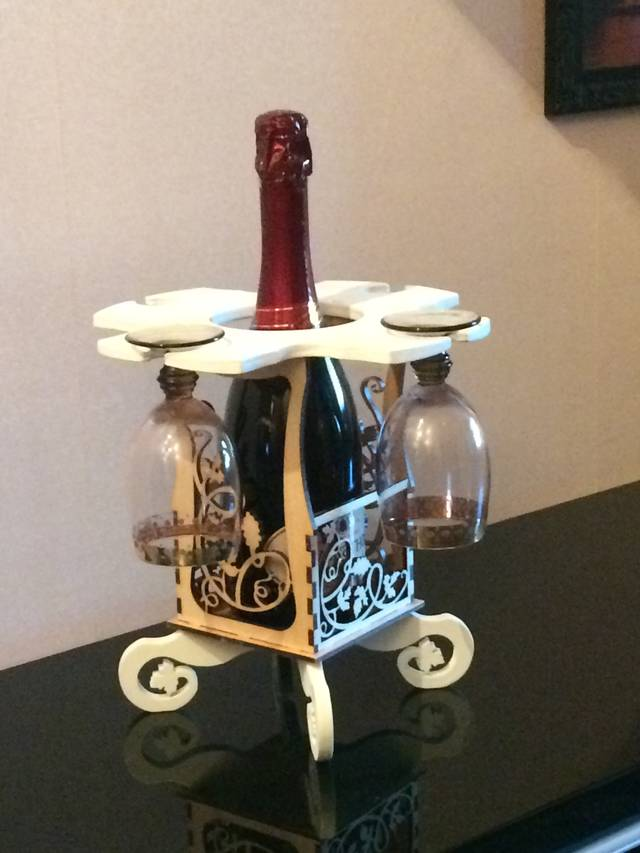 Wine Caddy 3D Puzzle Laser cut DXF File