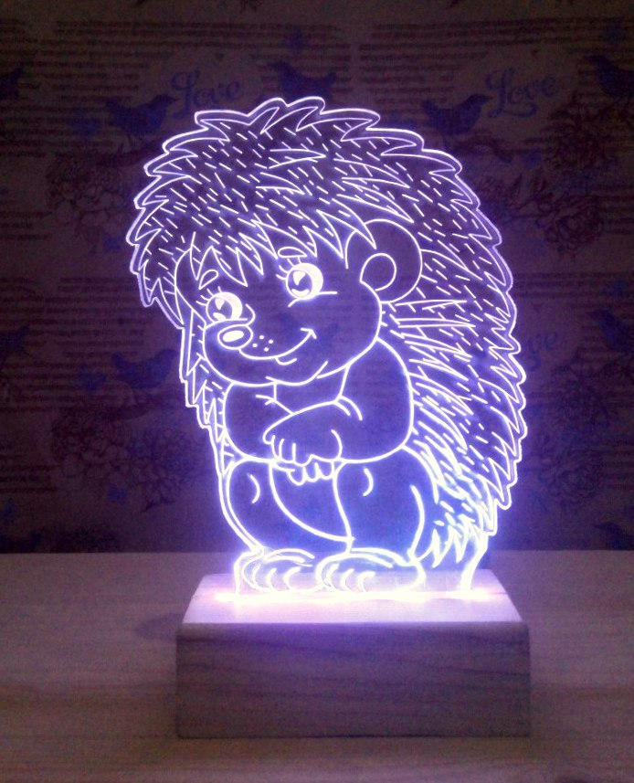 Sitting Hedgehog 3D Lamp Vector Model Free Vector