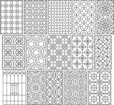 Big Set 15 Seamless Simple Black And White Patterns Free Vector