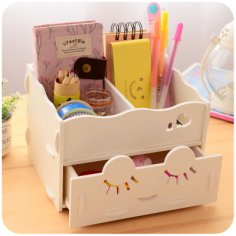 Wooden Storage Box Desk Organizer for Cosmetics Free Vector