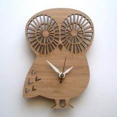 Laser Cut Owl Shape Clock CDR File