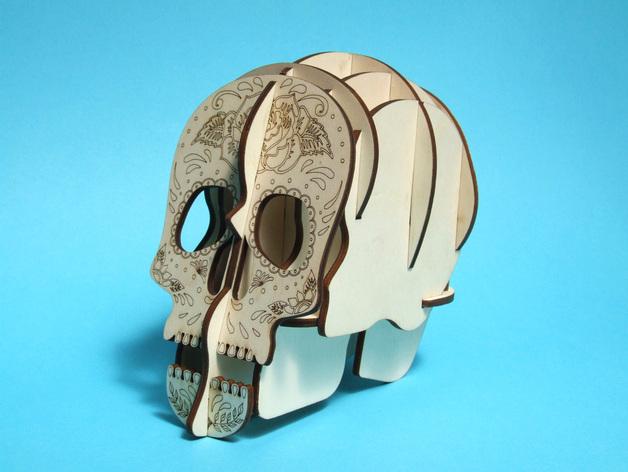 Laser Cut Skull 3d Pen Holder CDR File