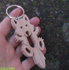 Key chain wooden Loup Farceur