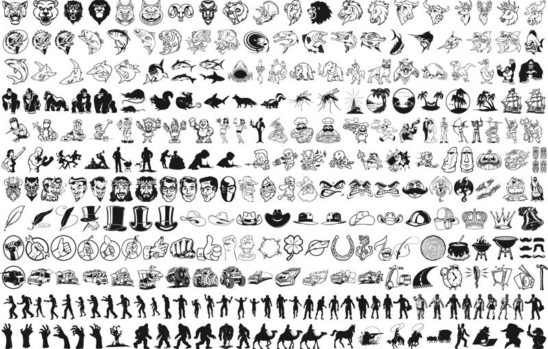 Mix vector silhouettes clipart Free Vector