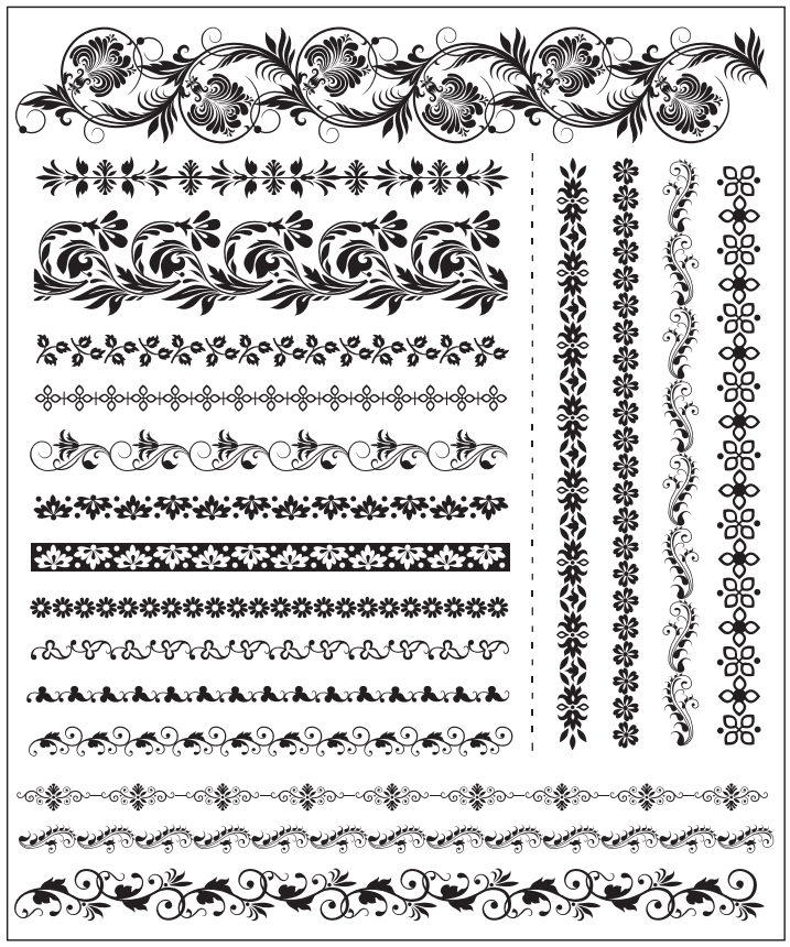 Set Of Floral Decorative Elements Free Vector