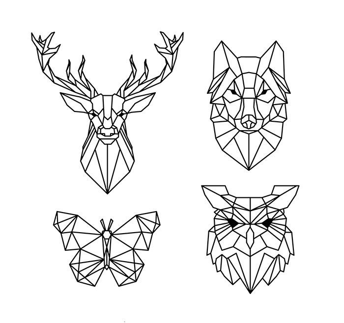 Polygonal Geometric Animals Free Vector