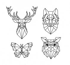 Polygonal Geometric Animals Free Vector