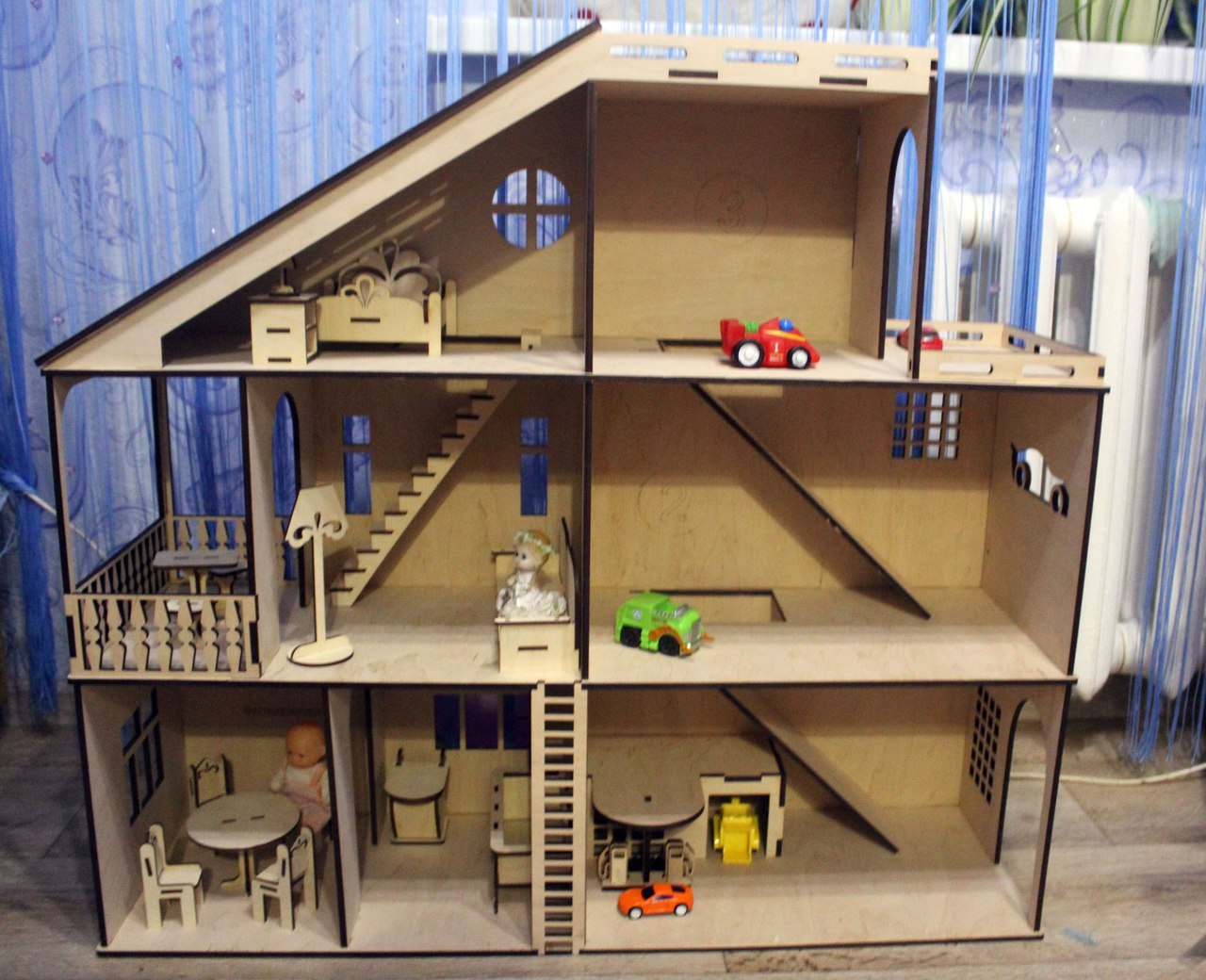Laser Cut Dollhouse With Toy Car Parking Garage 4mm Free Vector