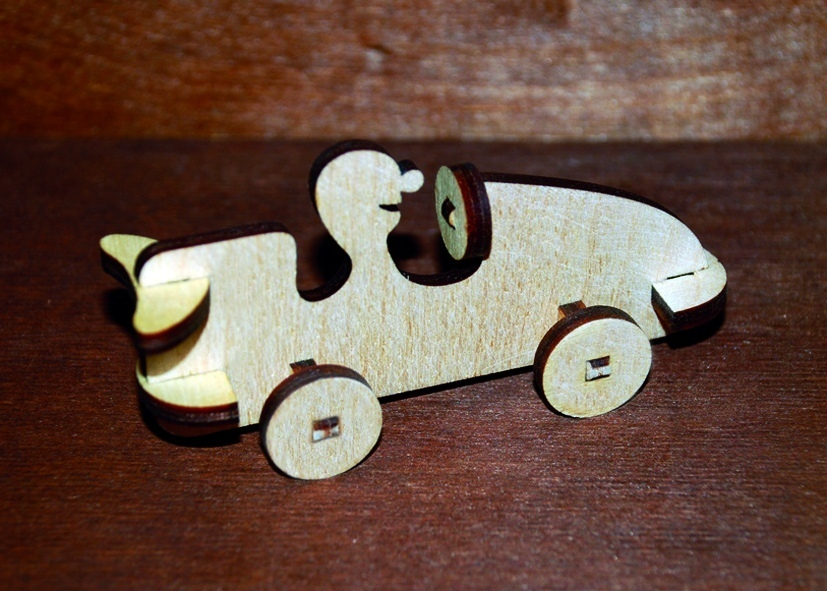Aser Cut Wooden Race Car Toy Free Vector