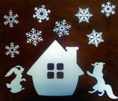 Laser Cut Christmas Elements Design Hare Fox Snow Flakes Free Vector