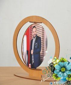 Laser Cut Rotating Photo Frame Free Vector