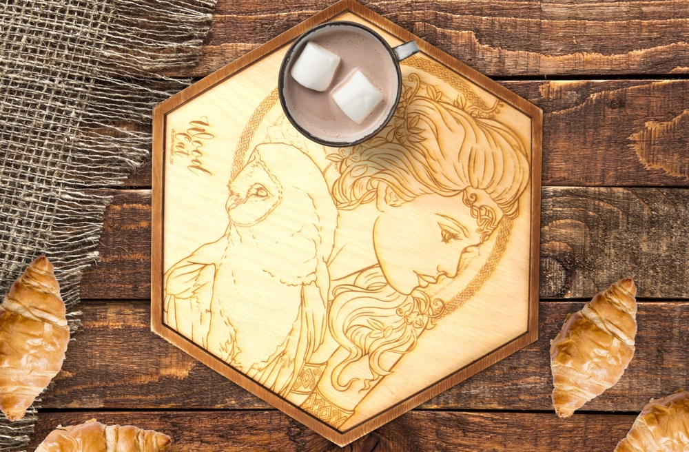 Laser Cut Engraved Wooden Tray Free Vector
